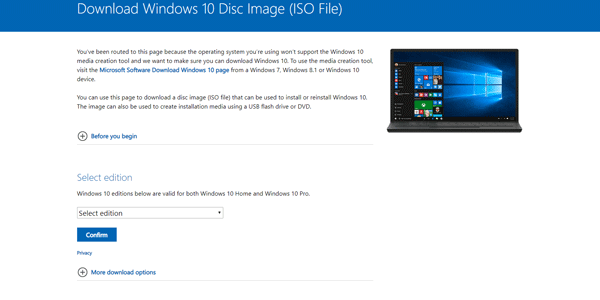 Directly download Windows 10 ISO from Microsoft
