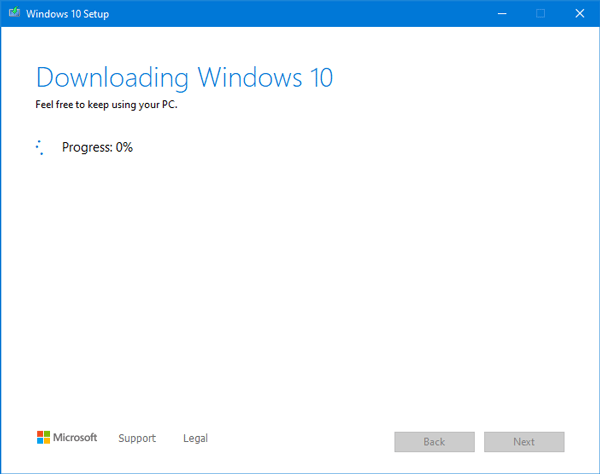 windows 10 download process started